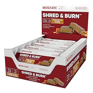 MUSASHI  Shred and Burn Weight Loss Protein Bars   Box of 12 (90 grams)