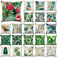 Tropical Plant Green Leaves & Flower Pillow Case Cushion Cover Home Sofa Decor