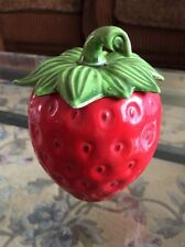 Vintage Strawberry  Ceramic  Red & Green Small Jar With Top.