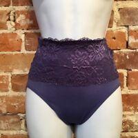 Rhonda Shear Harbor Blue Lace Overlay Seamless Brief Panties New NWOT