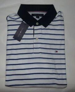 NWT Mens Tommy Hilfiger S/S Polo Shirt~WHITE / BLUE~XXL