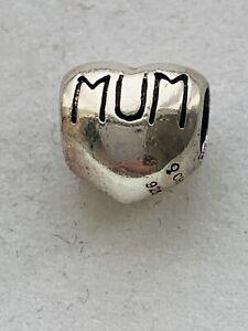 Genuine Chamilia Bracelet Charm. -  Silver Mum Heart   Mothers Day  #4/9