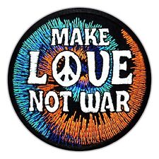 Make Love Not War - Peace Embroidered Hippie Iron On Patch Applique Jacket Biker