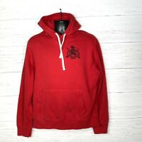 Vtg Polo Ralph Lauren Red Thick Hoodie Sweatshirt Reverse Weave Men's L Big Logo