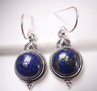 Lapis with Rope Style and Leaf Accents 925 Sterling Silver Dangle Earrings