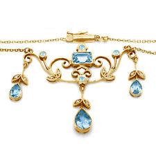 Blue Topaz & Diamond 9ct 9K Solid Gold Genuine Necklace Pendant - 30 Day Returns