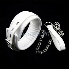 White Adult Bondage Fetish SM Neck Collar Cuffs & chain leash Restraints Sex Toy