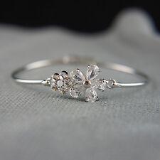 14k White Gold Plated Swarovski Crystals Flower Bangle Bracelet