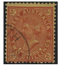 West Australia stamps 1902 VICTORIA 2 Shillings bright red SG124 used - F331