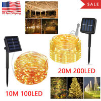 100/200 LED Solar Fairy String Light Copper Wire Outdoor Waterproof Garden Lamp