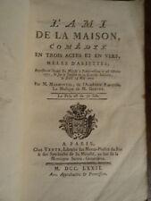 Marmontel, L'ami de la Maison, Comédie, partition 1772