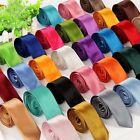 Classic Skinny Men's Slim Tie Solid Color Plain Silk Jacquard Woven Necktie NEW