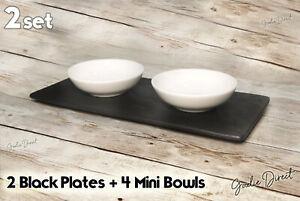 6 pcs set, 2pcs British Airways Black platter + 4pcs William Edwards mini Bowl