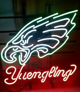 """New Yuengling Philadelphia Eagles Neon Light Sign 20""""x16"""" Beer Cave Gift Lamp"""