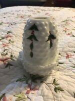 Vintage Fenton White Holly Leaf Milk Glass Hobnail Ruffled Vase Votive Holder