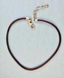 """BRIGHTON Braided Brown Leather Necklace 16"""" + Double Lobster Clasp"""