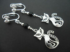 A PAIR OF TIBETAN SILVER  AND BLACK  BEAD CAT CLIP ON EARRINGS. NEW.