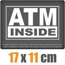 ATM Dentro 17 X 11 CM JDM Pegatina Carreras Blanco, adhesivo para ventana