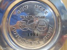 Vintage NEW HOPE AUTO SHOW GRAND AWARD Big Metal Plaque Plate Sign Wilton Co