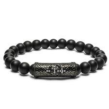 Charms Men's Gemstone Beaded Bracelet FLEUR DE LIS - Black Matte Agate Handmade