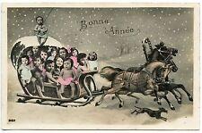 NOEL. CHRISTMAS. ENFANTS. BéBéS MULTIPLES. CHILDREN. CHEVAUX.HORSES. CHIEN. DOG