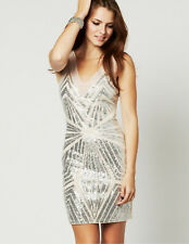 Lipsy Sequin Bodycon Dress 12 Nude Silver Metallic Plunge VIP Club Xmas Party