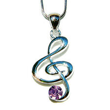 Purple w Swarovski Crystal TREBLE CLEF Musical MUSIC NOTE Pendant Charm Necklace