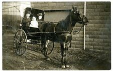 Ohio -COUPLE & BABY IN HORSE DRAWN CARRIAGE - RPPC Postcard