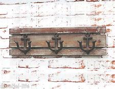 SAIL Vintage Wandgarderobe Garderobenleiste Hakenleiste Holz massiv Metall Anker