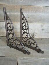 2 LARGE Shelf Braces Wall Brackets Cast Iron Brackets Vine Garden Corbels Rustic