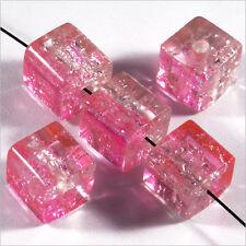 Lot de 20 Perles Craquelées Cubes en verre 8mm Rose