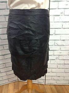 Boho Black Vintage 90s Ruffled Layered Pencil Leather Skirt Size  10