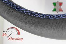 FOR FORD ANGLIA 15'' - BLACK LEATHER STEERING WHEEL COVER, NAVY BLUE STIT