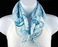 Blue Dolphin Women's Animal Porpoise Scarf Square Scarfs Fashion Blue Scarves
