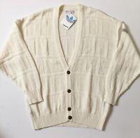 Vintage 1980s Adidas Deadstock Cardigan Made In Austria BNWT Jumper Cream M OG