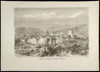 1860 - Monasterio De Iveron O Iveron ( Monte Athos ) - Grabado Sobre Madera