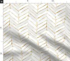 Chevron Painted White Gold Stripe Herringbone Mod Spoonflower Fabric by the Yard