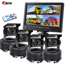 "9"" QUAD SPLIT MONITOR SCREEN REAR VIEW BACK UP CAMERA SYSTEM FOR BUS TRUCK RV AG"