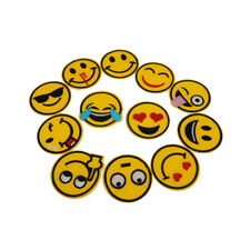Pack of 12 Handicraft Funny emoji Patches Faux Silk Cloth Sticker Iron On Patch