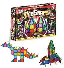 48pc MagSnaps UNIQUE Magnetic BUILDING Bricks / Tiles -Construction 2D 3D Shapes