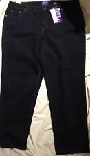 Slimming Stretch Jeans Straight Leg Classic Fit Womens Plus Size 22 W M NWT