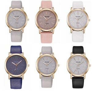 Ladies Watches Womens Casual Quartz Analogue Leather Wrist Watch Gift S Steel UK