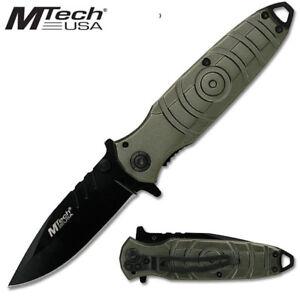 Mtech USA Tactical Folding Knife Gunmetal Grey Circle Pattern Handle