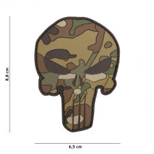 Punisher Multi Camo Patch Klett Abzeichen Airsoft Paintball Tactical Softair