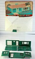 Plasticville  Green Walls & Chimney White Roof  Ranch House Kit #RH-1 Box (#1)