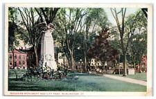 Early 1900s Soldiers Monuments and City Park, Burlington, VT Postcard