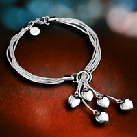 Chic 925 Silver Plated Multilayer Snake Heart Charm Love Pendant Bangle Bracelet