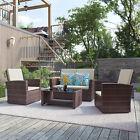 Yitahome 4pcs Outdoor Patio Sofa Set Pe Rattan Wicker Garden Sectional Furniture