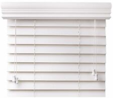 "EzBlinds 55"" x 74"" Basswood Faux Wood Window Blinds, 2"" Slats, 4.5"" Crown Valan"