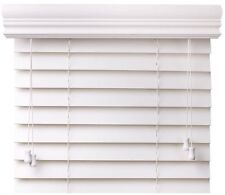 "EzBlinds B5574 Basswood Faux Wood Blinds, 2"" Slats with 4.5"" Crown Valan, White"